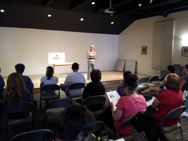 Sharon Starika leading a workshop for runners at Salt Lake Running Co.