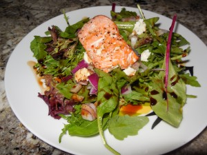 Mixed Greens Salad with Red onions, Goat Cheese & Salmon
